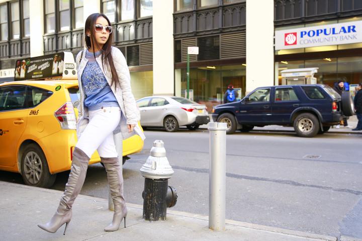An Dyer wearing Tadashi Sweatshirt with Marciano Jeans