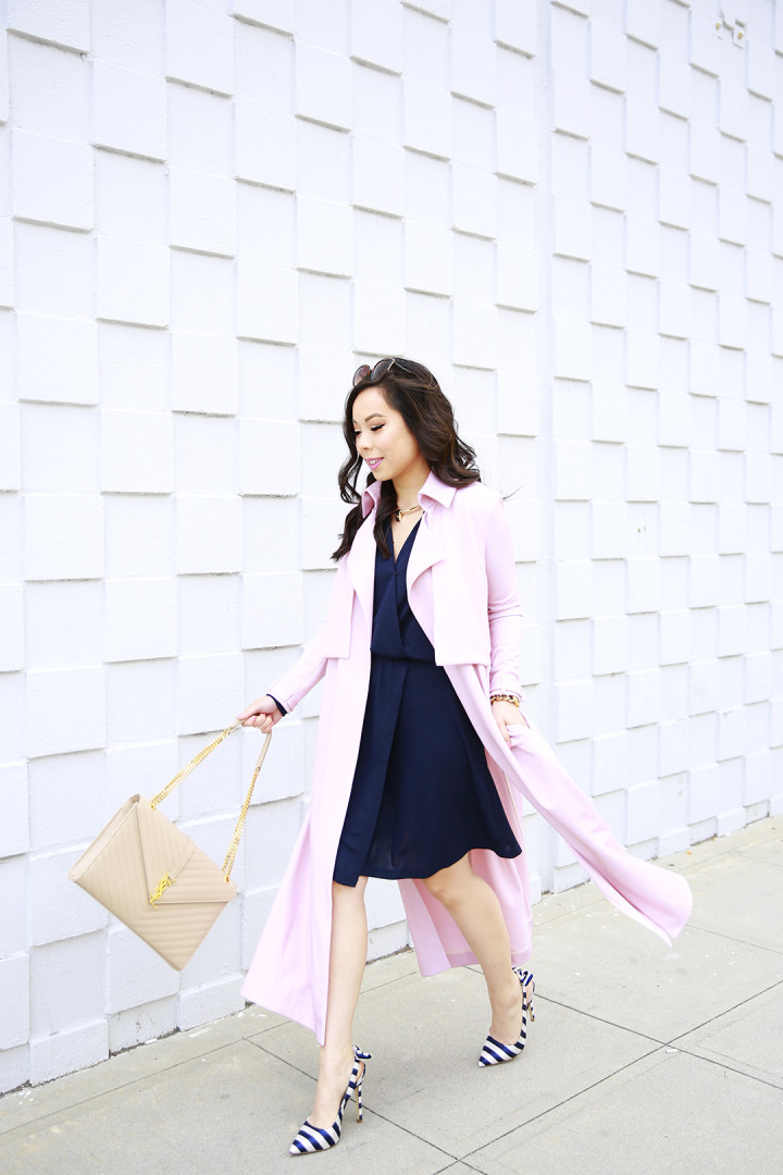 An Dyer wearing Blush Pink Duster Coat