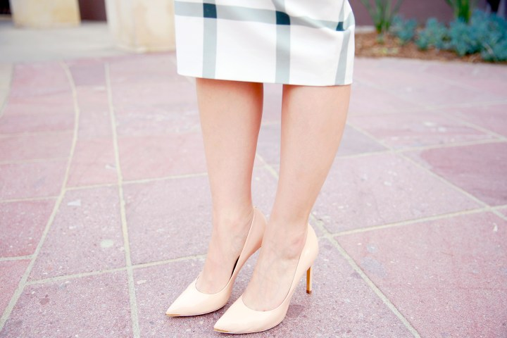 An Dyer wearing Ted Baker Nude NEEVO Pointed leather court shoe