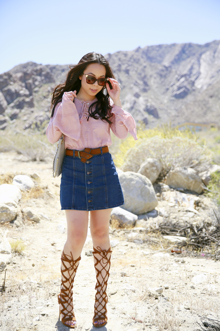 An Dyer Coachella Blush Pink Boho Lace Up Top, Button Front Denim Skirt, Camel Gladiator Heels