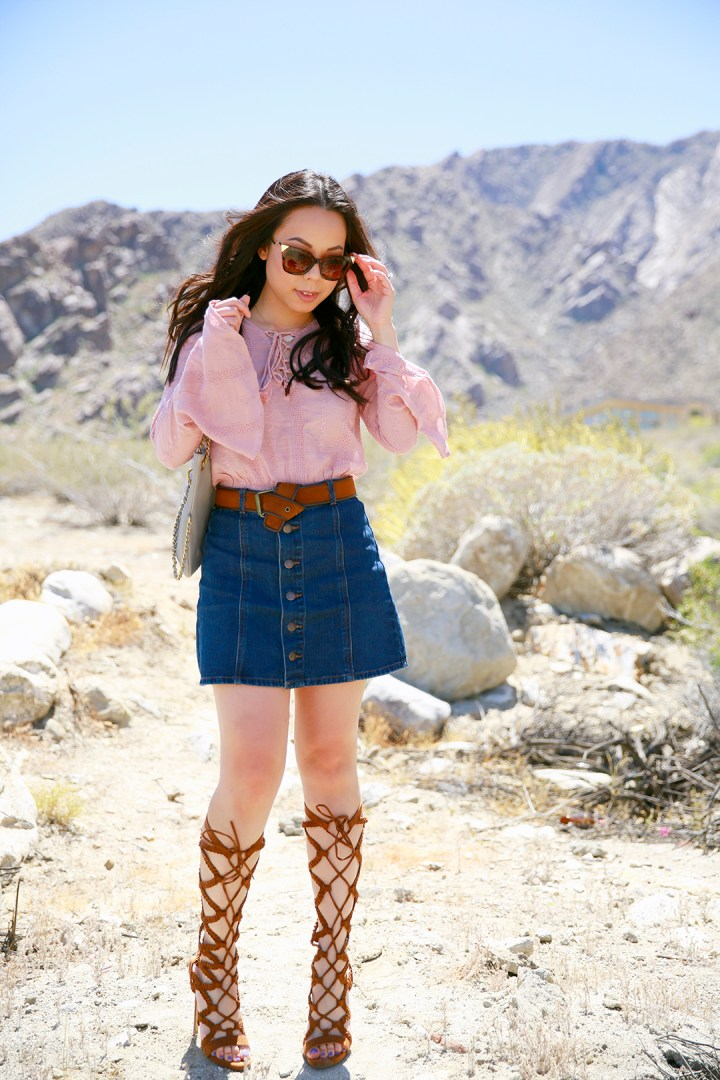An Dyer Coachella Blush Pink Boho Lace Up Top, Button Front Denim Skirt, Camel Gladiator Heels