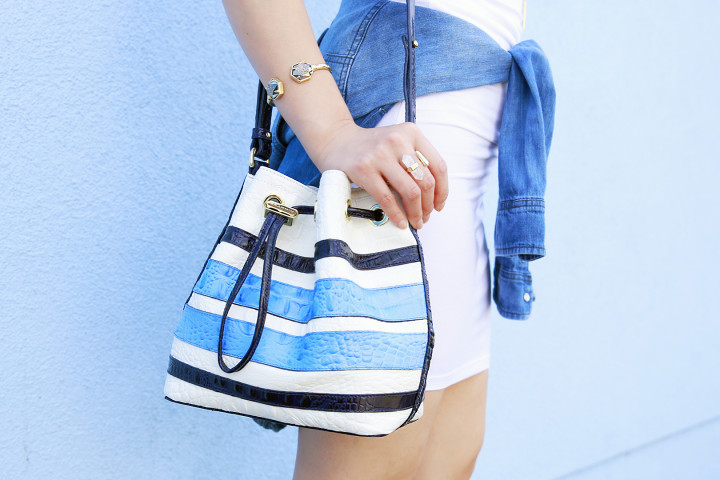 An Dyer carrying Brahmin Stripe Bucket Bag