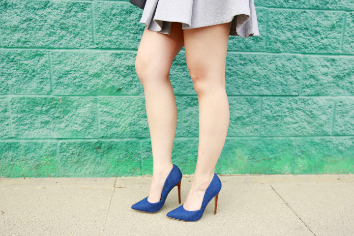 An Dyer wearing Denim Pumps