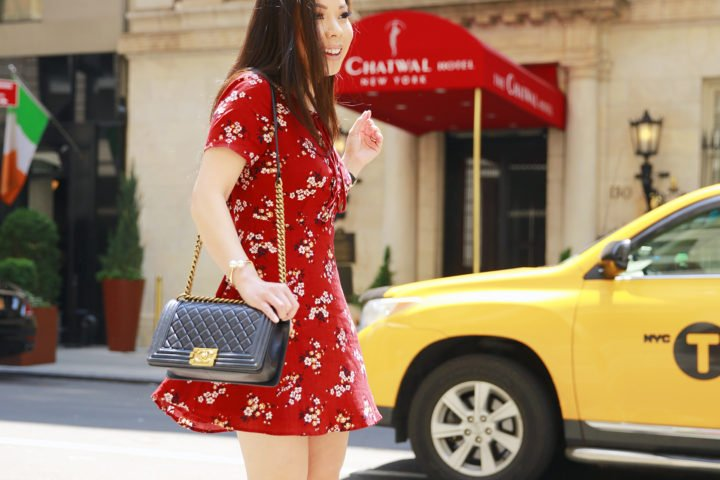 An Dyer NYC Street Style Chanel Boy Bag Spring Summer 2016 Red Floral Dress taxi cab