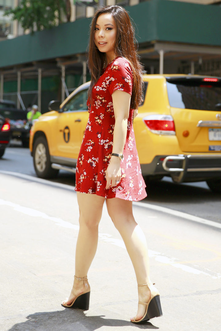 An Dyer NYC Street Style Spring Summer 2016 Red Floral Dress