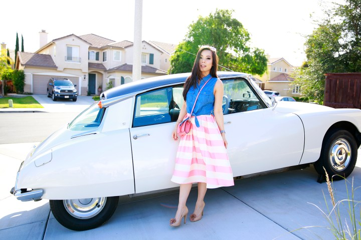 An Dyer wearing Candy Pink Striped Full Midi Skirt, 1971 Citroen DS 21