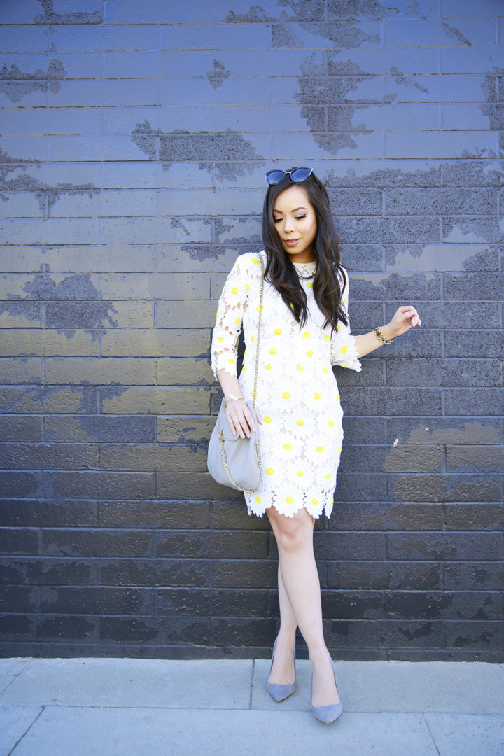 An Dyer wearing Chicwish White Daisy Crochet Dress