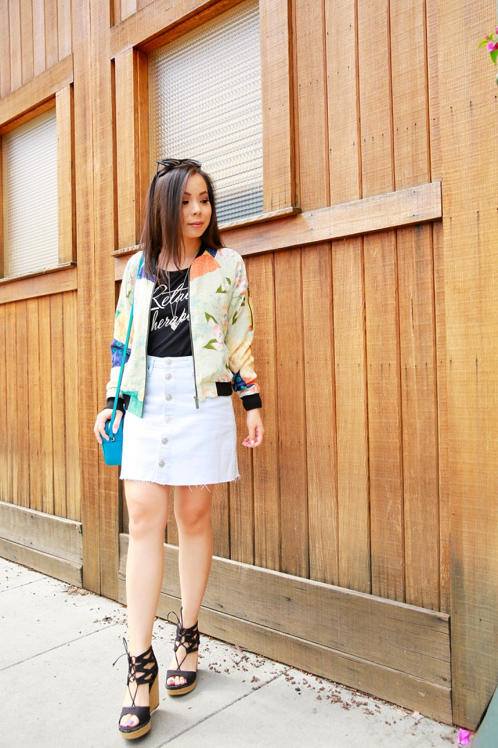 An Dyer wearing Sanctuary Bomber Jacket with Hudson Jeans Skirt
