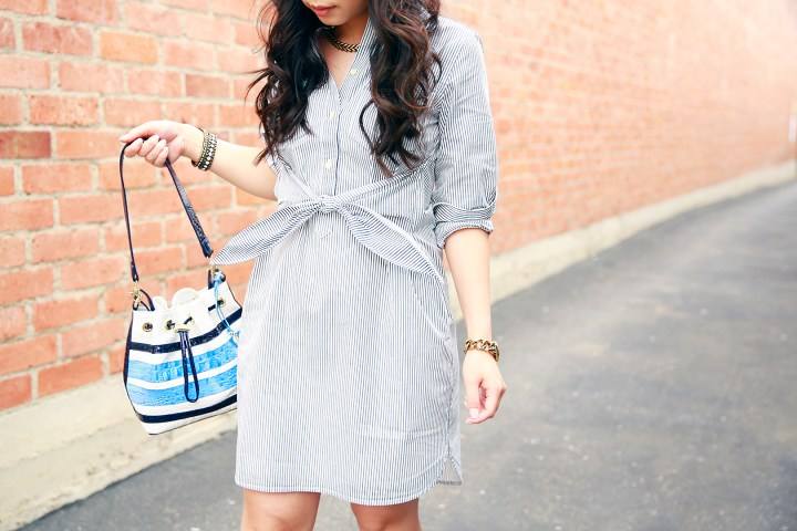 Madewell tie front waist shirt dress, Brahmin Maxine Blue Stripe Bucket Bag