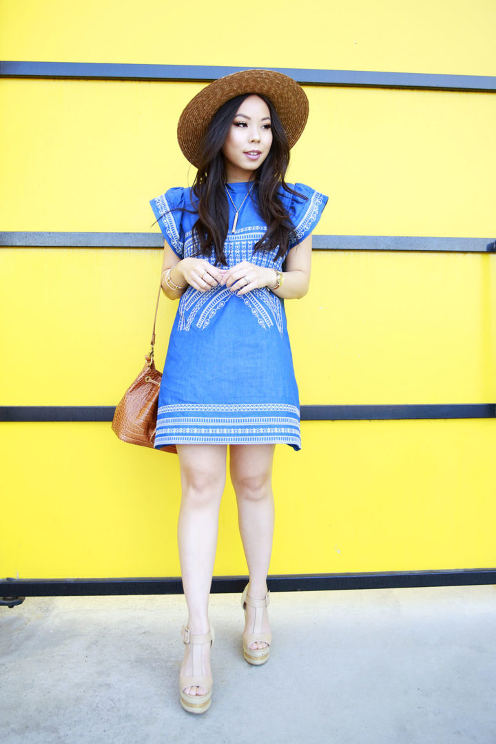 An Dyer wearing Brown Boater Hat, Chicwish Denim Dress Embroidered with ShoeDazzle Nude Wedge Platform Sandals