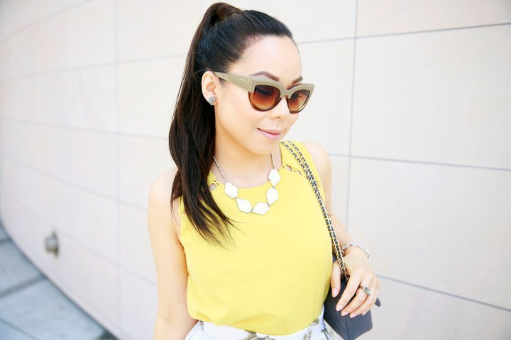 An Dyer wearing Charming Charlie Two Tone Cateye Sunglasses 2