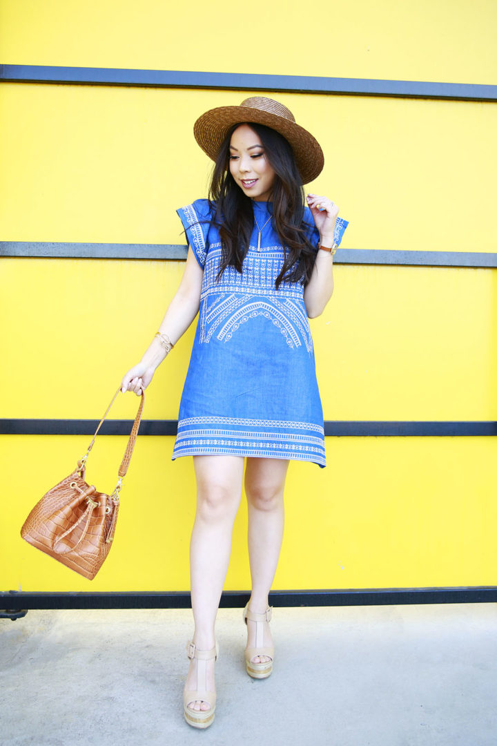 An Dyer wearing Chicwish Denim Dress Embroidered