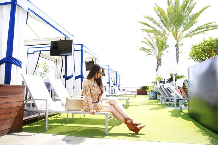 An Dyer blogger at The London West Hollywood Beverly Hills Rooftop Cabanas