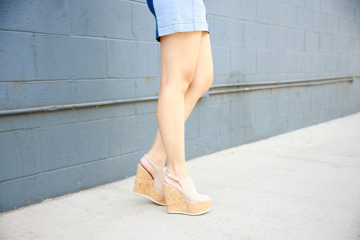 An Dyer wearing La Canadienne Cork Wedges