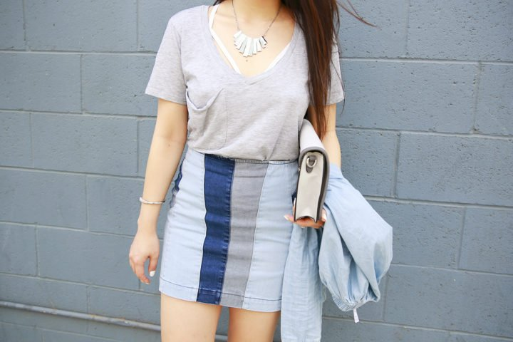 An Dyer wearing Z Supply Tee with Guess Patchwork Denim Skirt