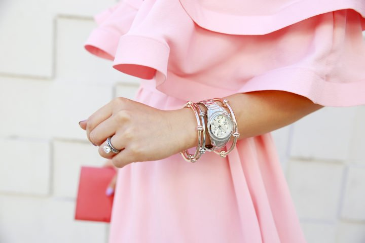 An Dyer blogger wearing Charming Charlie Cuff Watch