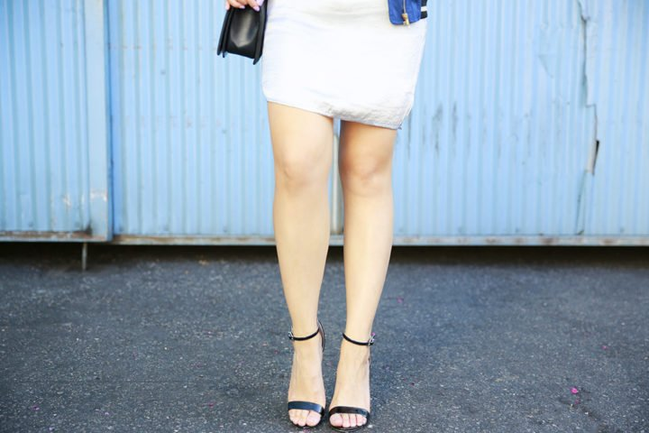 An Dyer wearing Black Patent Strappy sandals
