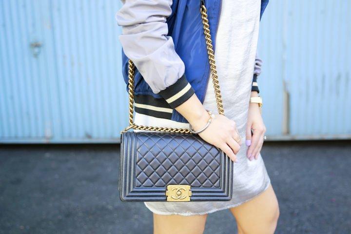 An Dyer wearing Chanel Boy Bag Black Lambskin Gold Hardware