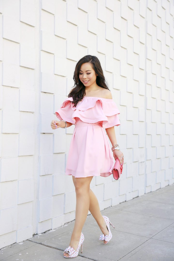 An Dyer wearing Pink Ruffle Off Shoulder Chicwish Dress