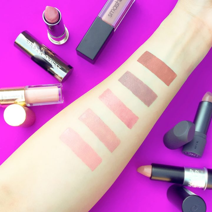 Swatch swatches Smashbox Liquid Lipstick Stepping Out Bite Beauty Lipstick Thistle Urban Decay Lipstick Naked Make Up For Ever MUFE Lipstick C105 Tarte Sculptor Double Ended Basic