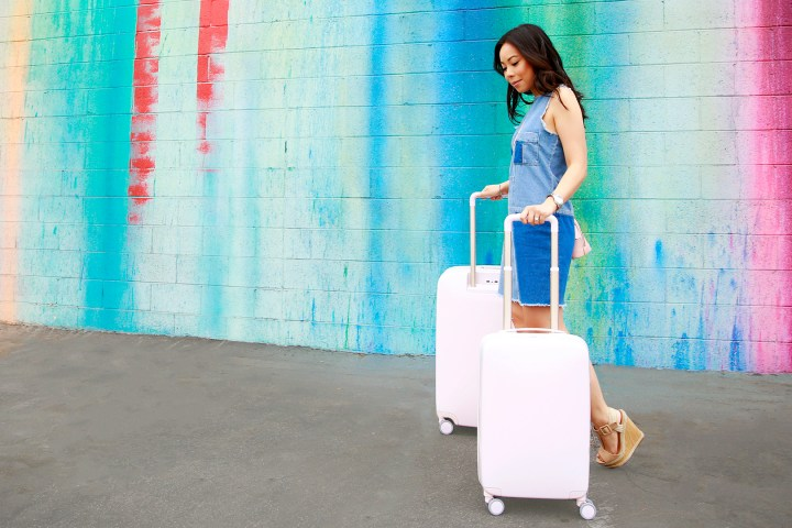 An Dyer wearing Denim Dress with Raden Luggage