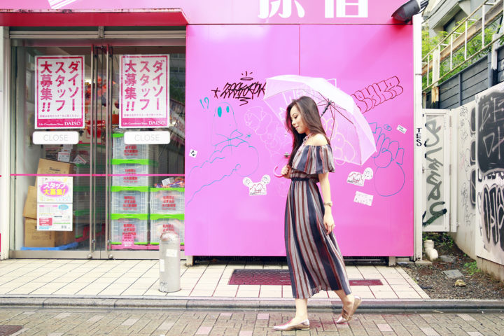 harajuku-guilty-soles-metallic-pointed-flats-striped-maxi-off-shoulder-dress