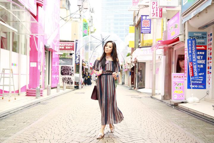 harajuku-metallic-pointed-flats-striped-maxi-off-shoulder-dress
