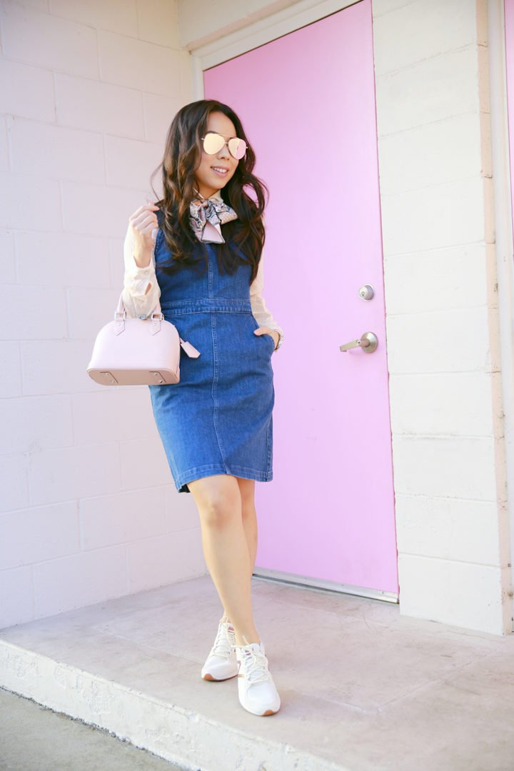 an-dyer-wearing-madewell-denim-hillview-dress-with-louis-vuitton-alma-bb-magnolia-pink