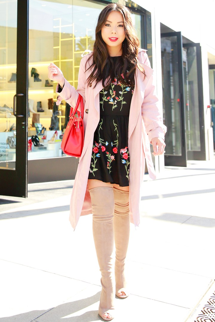 an-dyer-wearing-chicwish-pink-trench-coat-with-schutz-otk-peeptoe-nude-tan-suede-boots