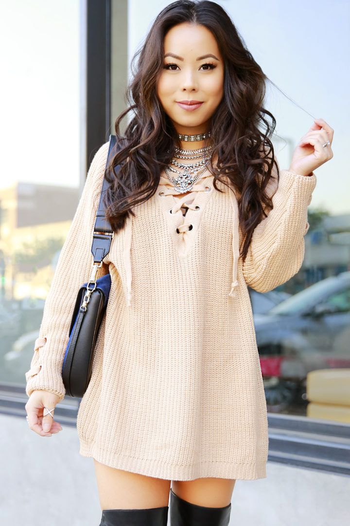 an-dyer-wearing-chicwish-chunky-knit-lace-up-sweater-dress-rommets