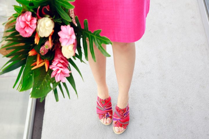 Fashion Blogger An Dyer wearing Sugar Brand Shoes Red Multi Knotted Wedge Espadrille Sandals