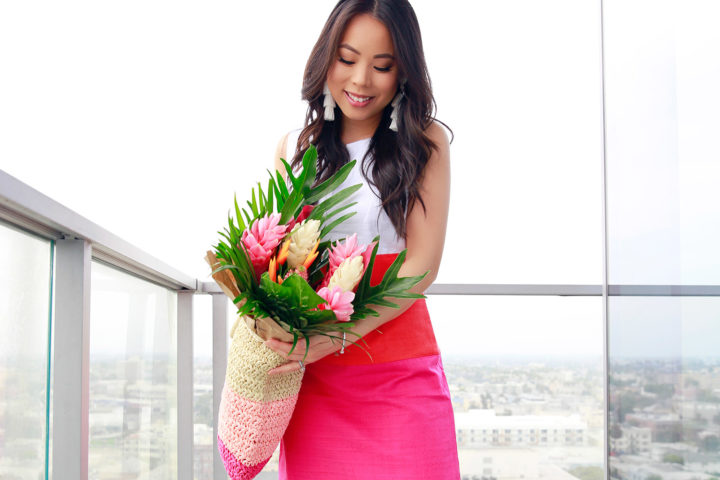 Lifestyle Fashion Blogger An Dyer wearing Talbots Colorblock Dress, Kendra Scott Tassel Earrings, Bouqs Tropical Bouquet