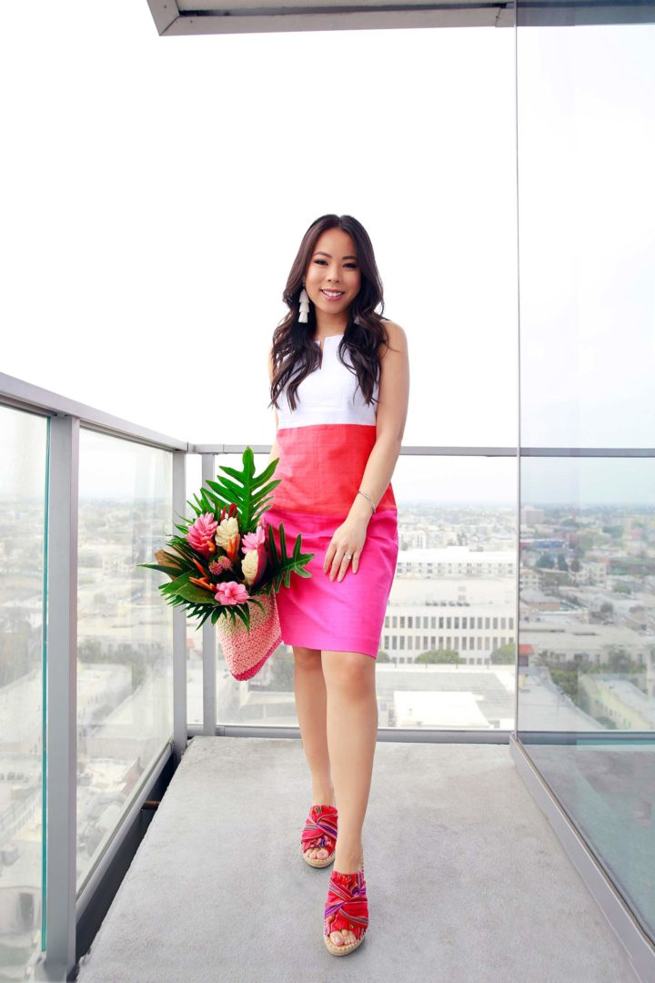 Lifestyle Fashion Blogger An Dyer wearing Talbots Colorblock Dress, Kendra Scott Tassel Earrings, Bouqs Bouquet, Sugar Brand Shoes