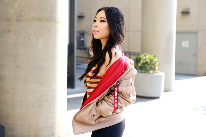 Fashion Blogger An Dyer wearing Alpha Industries jacket