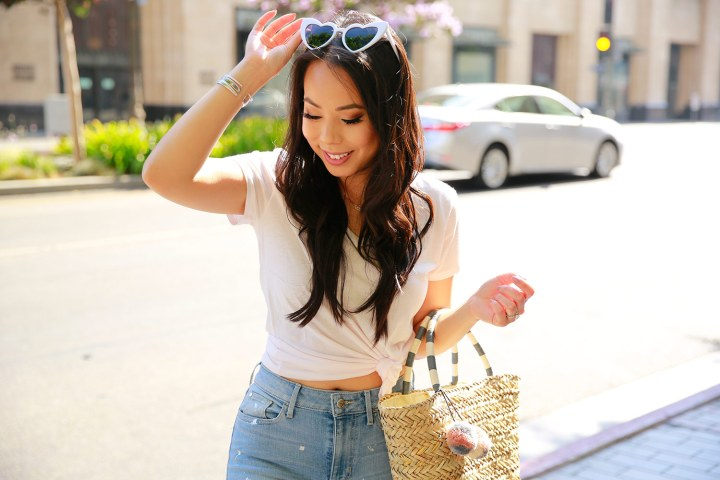 Fashion Blogger An Dyer in Downtown Los Angeles wearing White Heart Cateye Sunglasses