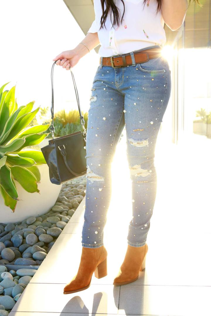 Fashion Blogger An Dyer wearing Guess Originals Pearl Beaded Rhinestone Crystal Covered Jeans