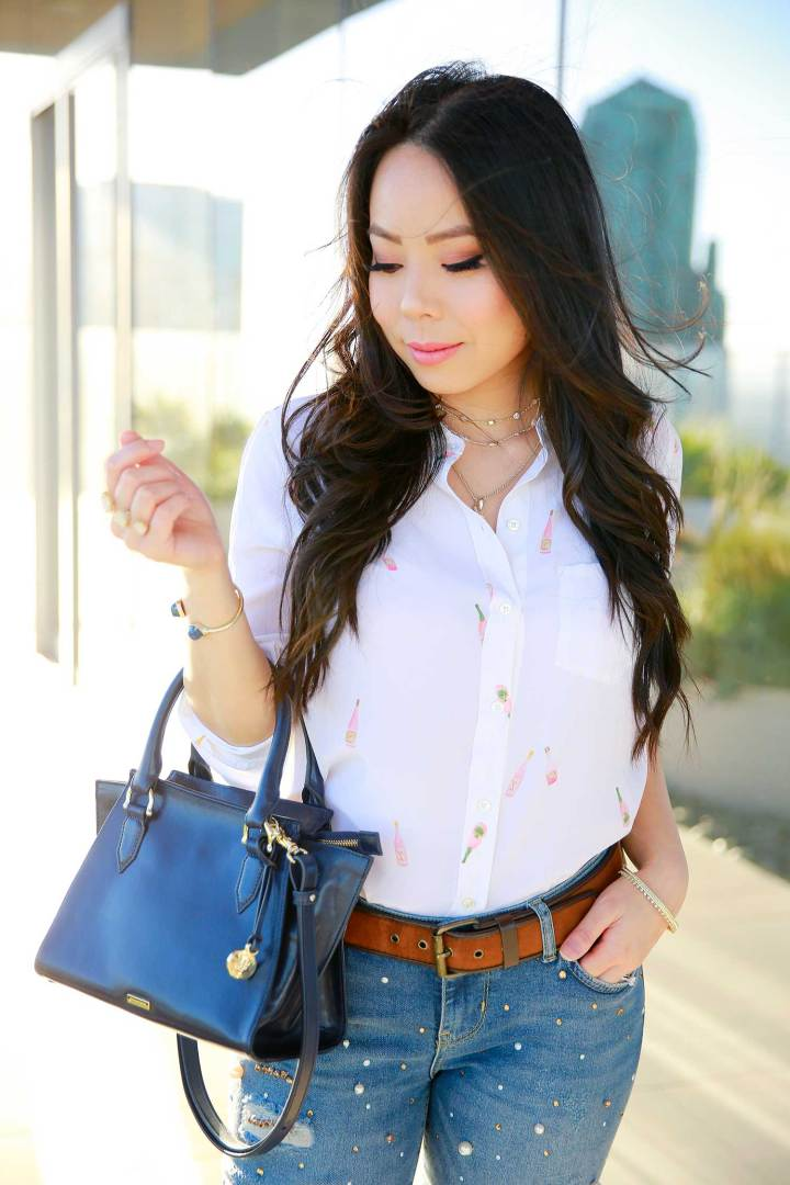 Los Angeles Fashion Lifestyle Blogger An Dyer wearing Rails LA Rosé Bottle Printed Shirt