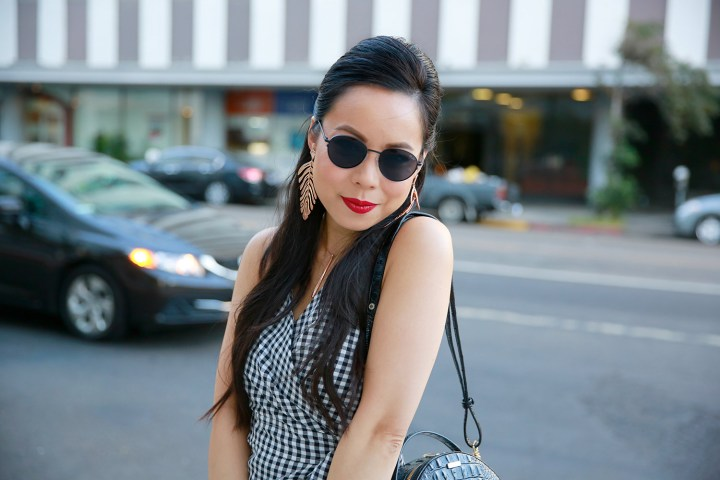LA Fashion Lifestyle Blogger An Dyer wearing Gingham Dress with Red Lips for Fall Style
