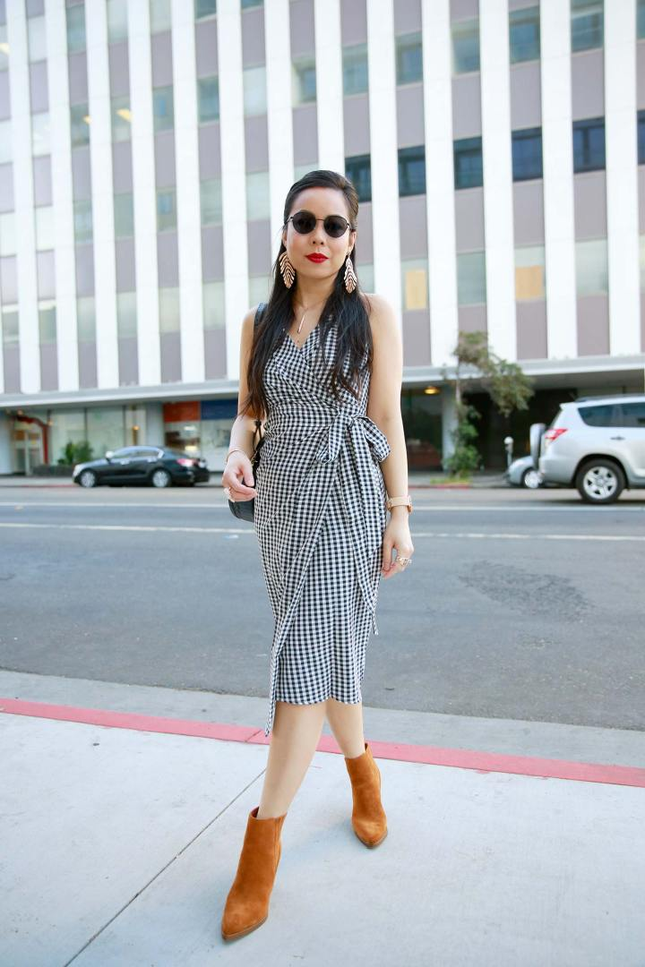 LA Fashion Lifestyle Blogger An Dyer wearing Gingham Dress with Suede Boots for Fall Style