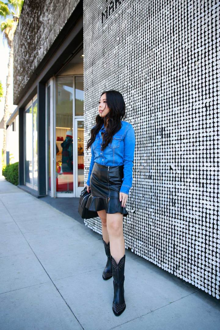 LA Fashion Blogger An Dyer wearing western street style denim with black cowboy boots