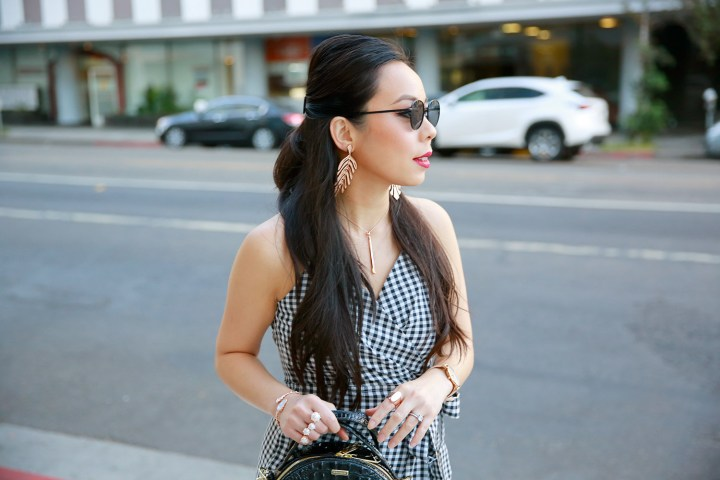 LA Fashion Lifestyle Blogger An Dyer wearing Gingham Dress with Rose Gold Jewelry for Fall Style