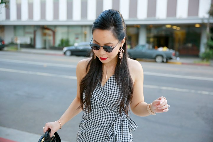 LA Fashion Lifestyle Blogger An Dyer wearing Gingham Dress for Fall Style