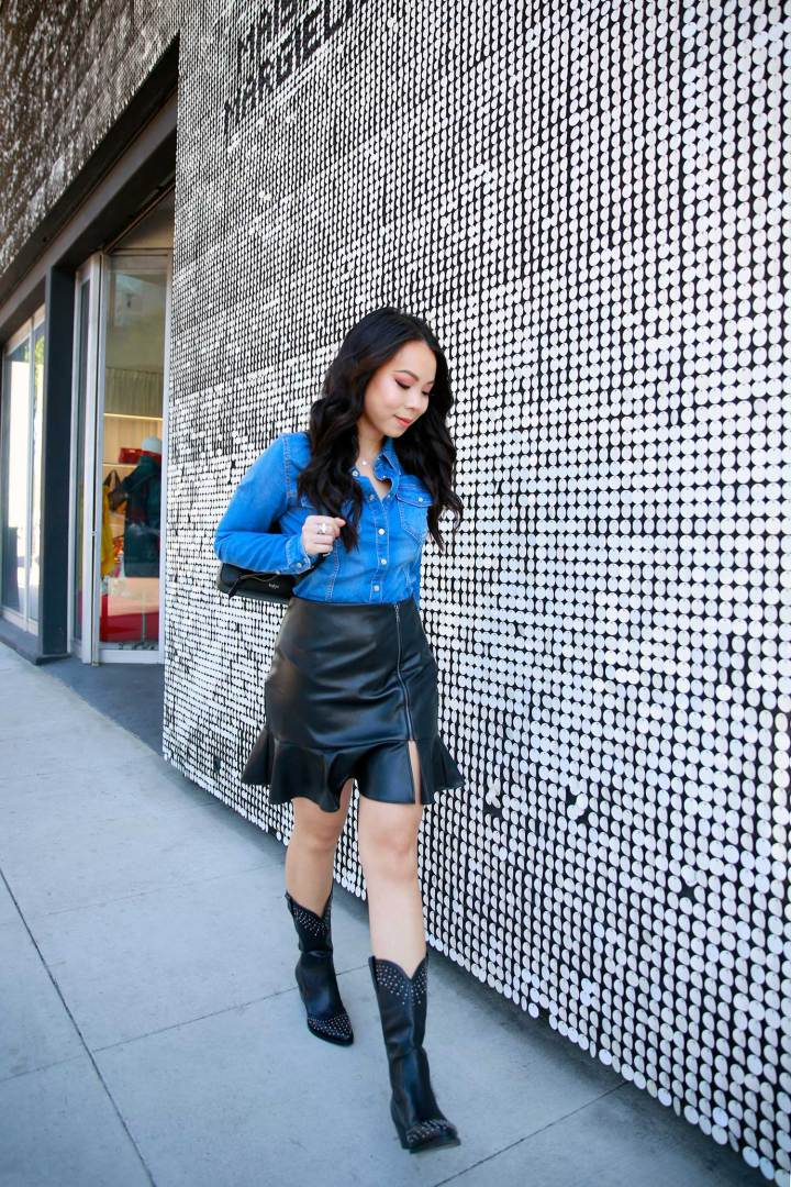 LA Fashion Blogger An Dyer wearing western street style denim with black cowboy boots