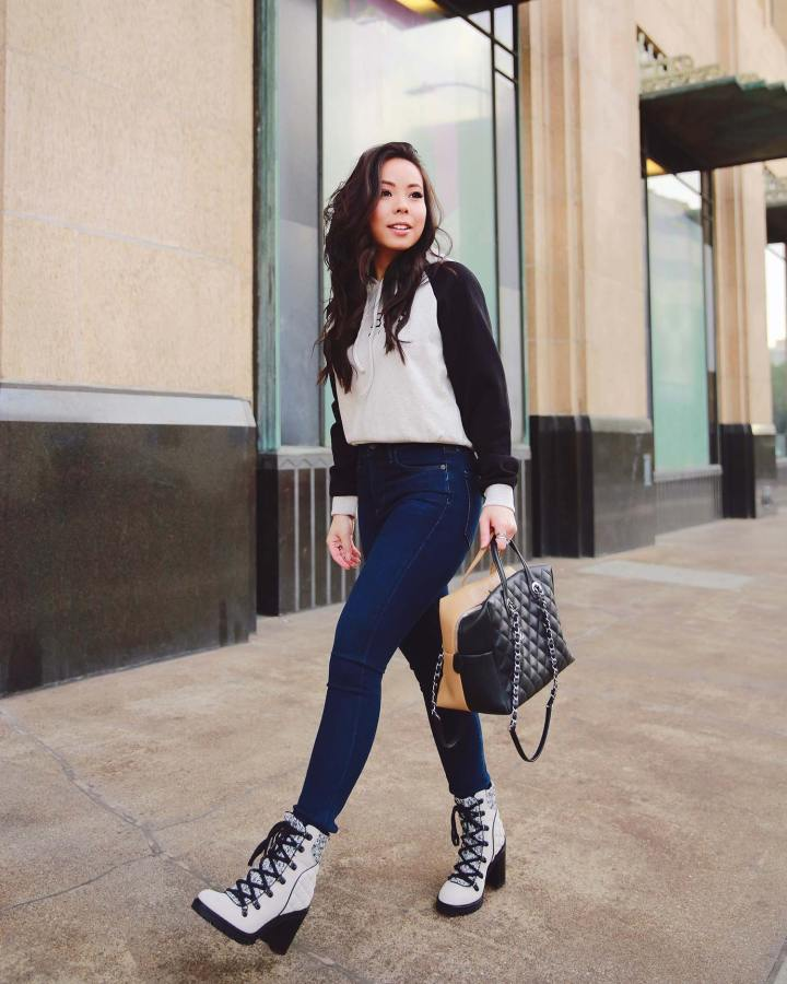 Fashion Street Style Blogger An Dyer Los Angeles wearing Citizens Rocket Crop Galaxy with Chanel Bicolor Bowler and Guess Originals Hoodie and Chunky Hiking Style Boots