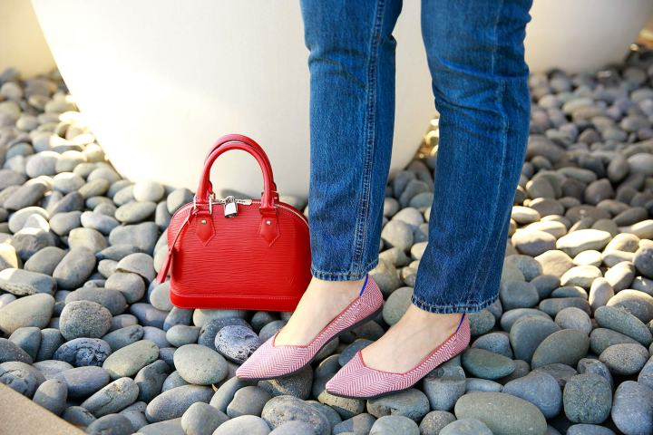 Louis Vuitton Alma BB Red with Rothy's Amber Metallic Herringbone Pointed Toe Flats