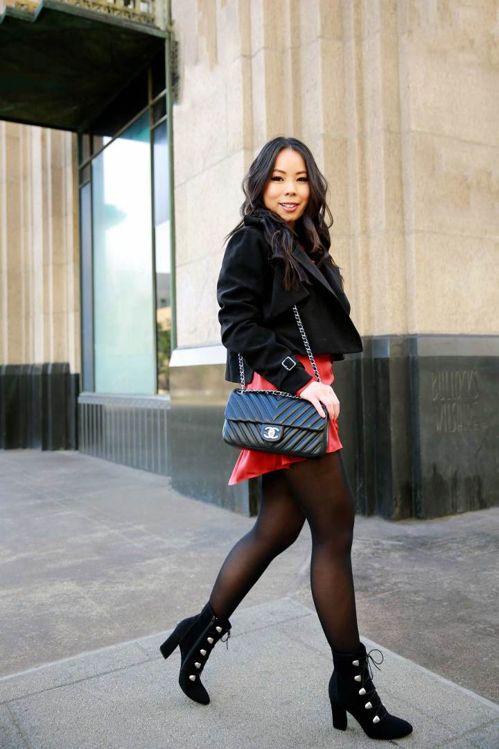 Lifestyle Fashion Blogger An Dyer wearing Holiday Dress Outfit Idea with Chanel Chevron