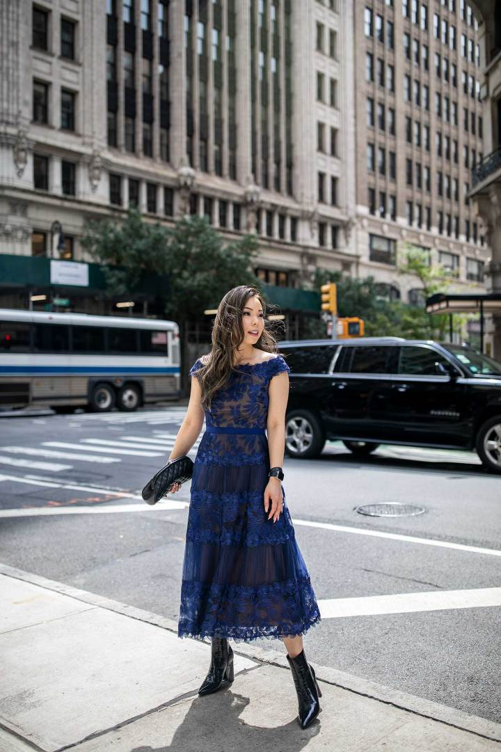 New York Fashion Week Street Style An Dyer wearing Tadashi Chanel Timeless by Reuben Luke