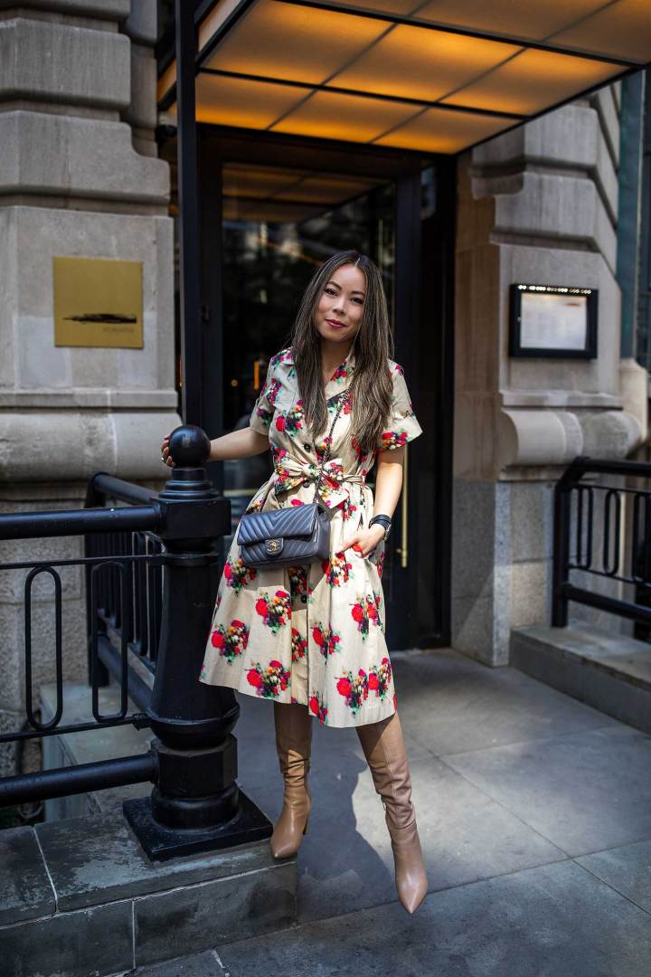Asian American Blogger An Dyer NYFW Street Style Adam Lippes Floral Trench Dress Chanel Chevron Marc Fisher Nude Boots MisterWonderland