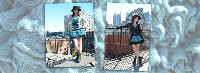 Haute Revel Elektra Blu Ruffle Skirt