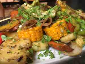 close up picture of grilled vegetables at el del frente in old havana, cuba